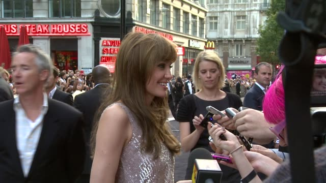 angelina jolie at the salt uk premiere at london england. - première stock videos & royalty-free footage