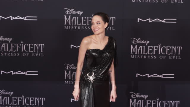 angelina jolie at the world premiere of disney's maleficent mistress of evil - disney stock videos and b-roll footage