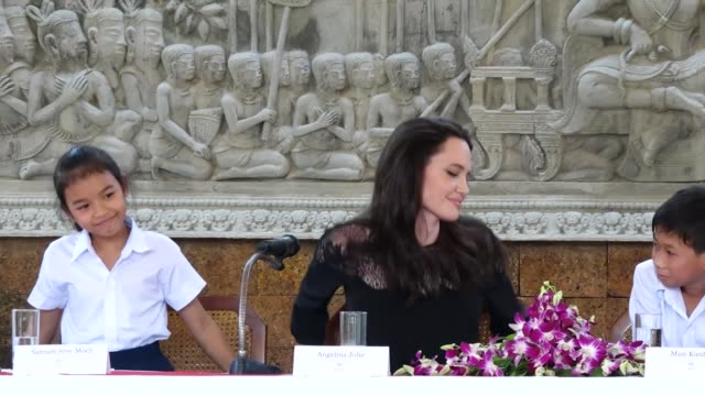 Angelina Jolie attends a press conference for the premiere of 'First They Killed My Father' on February 18 2017 in Siem Reap Cambodia