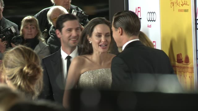 """stockvideo's en b-roll-footage met angelina jolie, brad pitt and melvil poupaud at """"by the sea"""" world premiere gala screening - afi fest 2015 at tcl chinese theatre on november 05,... - filmscreening"""