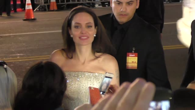angelina jolie greets fans at the afi fest 2015 presented by audi opening night gala premiere of universal pictures' by the sea at tcl chinese... - tcl chinese theatre stock videos & royalty-free footage