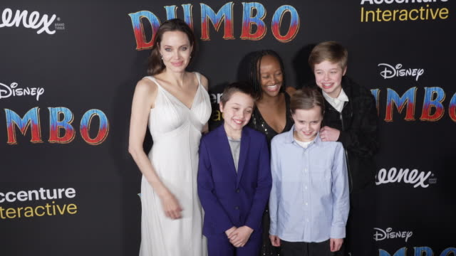 Angelina Jolie Knox Leon JoliePitt Zahara Marley JoliePitt Vivienne Marcheline JoliePitt and Shiloh Nouvel JoliePitt at the Dumbo World Premiere at...
