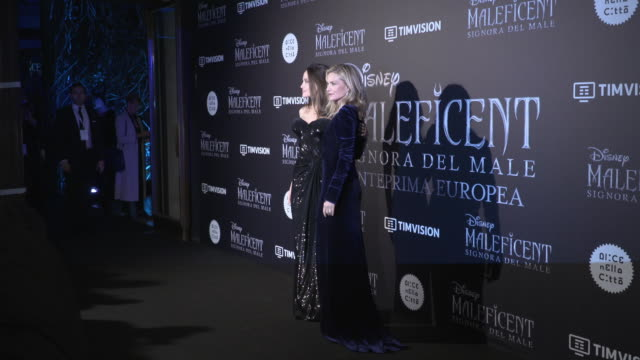 angelina jolie michelle pfeiffer at 'maleficent mistress of evil' european premiereon october 7 2019 in rome italy - michelle pfeiffer stock videos & royalty-free footage