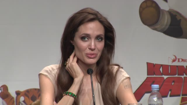 Angelina Jolie on being at the Cannes Film Festival and how her children are doing at the Kung Fu Panda 2 Press Conference 64th Annual Cannes Film...