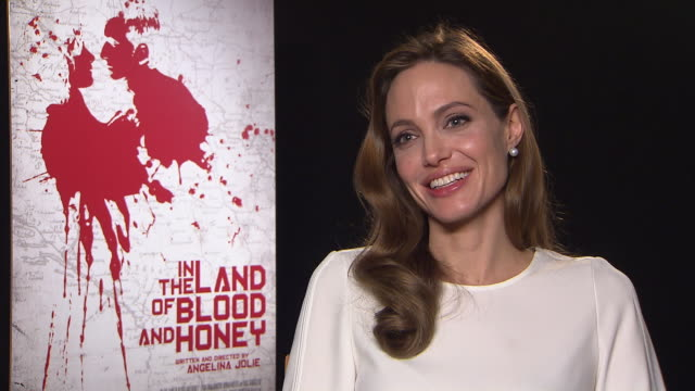 angelina jolie on her hopes for her family, the world and the un in the land of blood and honey interviews: 62nd berlinale international film... - interview raw footage stock videos & royalty-free footage