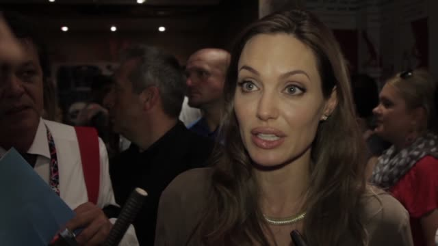 Angelina Jolie on the importance of young filmakers in raising social issues for their country at Angelina Jolie Receives the Honorary Citizen of...