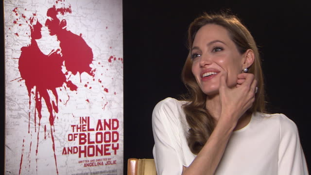 angelina jolie on the view point of the characters and the similarities to hers in the land of blood and honey interviews: 62nd berlinale... - interview raw footage stock videos & royalty-free footage