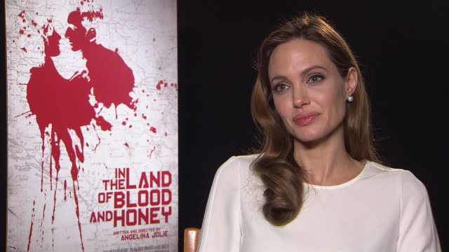 angelina jolie on why she sent the script out without her name at in the land of milk and honey interviews: 62nd berlinale international film... - interview raw footage stock videos & royalty-free footage