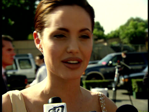Angelina Jolie talks to reporters on the red carpet at the 50th Annual Emmy Awards