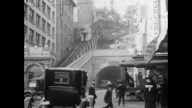 angel's flight funicular at the end of third street tunnel. - 1910 stock videos & royalty-free footage