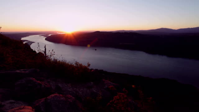 angel's rest sunset - columbia river gorge stock videos & royalty-free footage