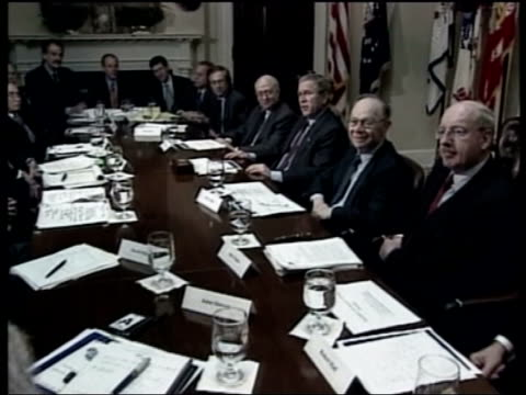 propaganda war pool usa washington the white house ms president george w bush and others sat around table zoom in - reuters stock videos & royalty-free footage