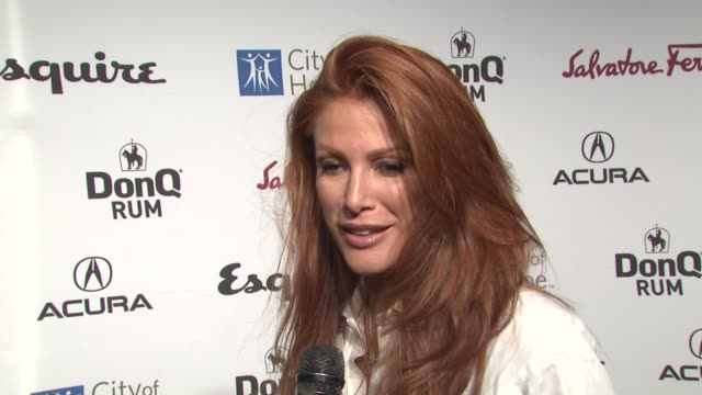 Angie Everhart on coming out tonight on if she's been to an Esquire House before on what she thought of the design and on what she expects to see in...