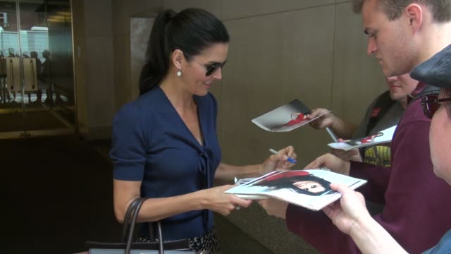 angie harmon exits the today show in rockefeller center signs for fans before getting into her car in celebrity sightings in new york - angie harmon stock videos & royalty-free footage