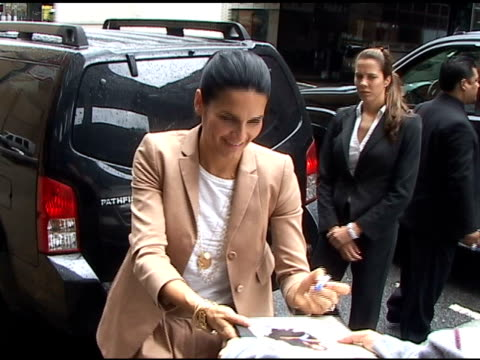 angie harmon is all smiles as she arrives at del posto restaurant in new york 05/18/11 - angie harmon stock videos & royalty-free footage
