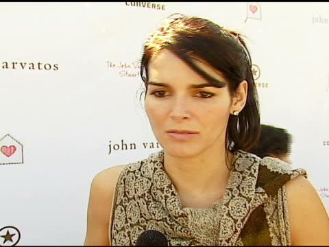 angie harmon on being at the event, why it's important, on john varvatos and converse at the john varvatos 5th annual stuart house benefit at john... - angie harmon stock videos & royalty-free footage