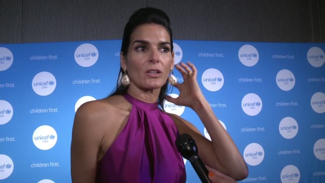 angie harmon on being here tonight, on her experience's and work with unicef, on her focus being on human trafficking, on her field trips with... - angie harmon stock videos & royalty-free footage