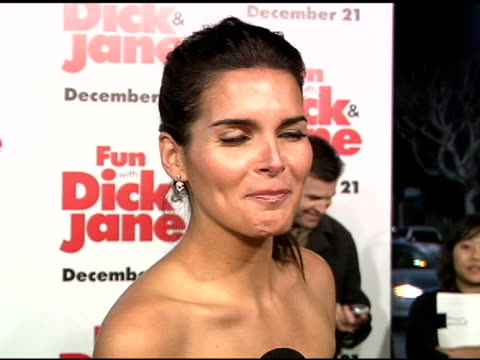 angie harmon on her character veronica cleeman and how pretentious she is at the 'fun with dick and jane' premiere at the mann village theatre in... - angie harmon stock videos & royalty-free footage