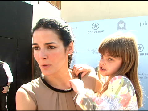 angie harmon on who she brought with her to the event, on why she wanted to be involved in today's event, on what she would like others to know about... - angie harmon stock videos & royalty-free footage