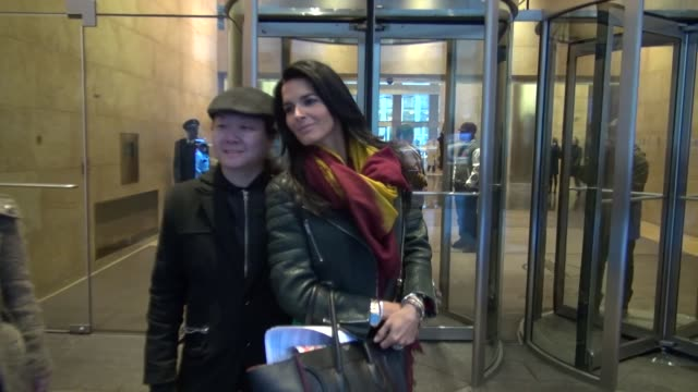 angie harmon outside the siriusxm radio studio in new york, ny, on 1/18/13. - angie harmon stock videos & royalty-free footage