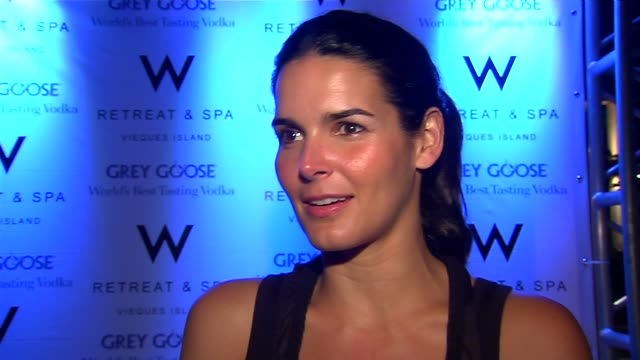 angie harmon talks about what she and her family are doing here talks about the w at vieques talks about seeing ticke perform talks about why the sag... - angie harmon stock videos & royalty-free footage
