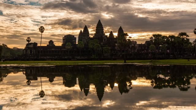 angkor wat at sunrise, cambodia - cambodia stock videos and b-roll footage