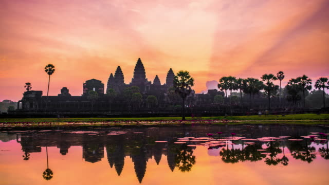 angkor wat, siem reap, cambodia 4k timelapse - cambodia stock videos and b-roll footage