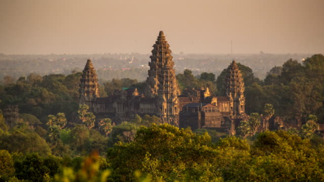 angkor wat sunset - cambodia stock videos and b-roll footage
