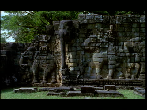 ms, angkor wat temple wall, angkor, cambodia - stationary process plate stock videos & royalty-free footage