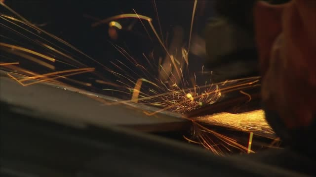 angle grinder in a metal workshop - metal worker stock videos and b-roll footage