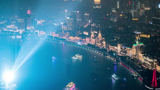 angle view of  huangpu river and the bund, shanghai, china - river huangpu stock videos & royalty-free footage
