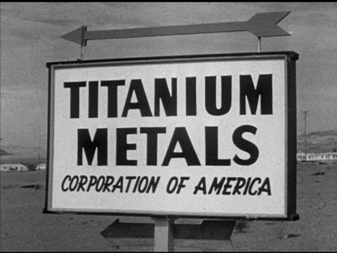 henderson nevada foundry angled ms sign 'titanium metals corporation of america' w/ arrow ha td workers walking through open gate ms male worker... - foundry worker stock videos and b-roll footage