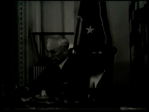 angled ws state department navy war building ms secretary of state cordell hull working at desk answering telephone japanese ambassadors issei nomura... - cordell hull stock videos and b-roll footage