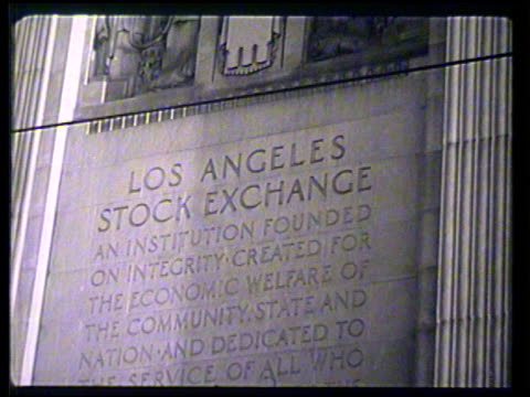 angled ws la stock exchange building tu ms partial inscription 'los angeles stock exchangefoundedcreated' angled ws san francisco stock exchange... - 彫刻画点の映像素材/bロール