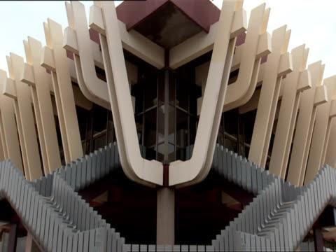 CU Angled view of decorative symmetry of Kigali International Airport passenger terminal building / Kigali, Rwanda