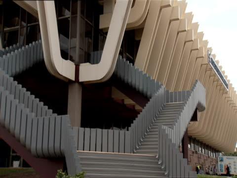 MS Angled view of decorative symmetry of Kigali International Airport passenger terminal building / Kigali, Rwanda