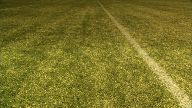 angled white paint yard line marker on turf, dolly left moving from above one line to below next, ten yards, yardage. no numbers, yards, measurement,... - アメリカンフットボール場点の映像素材/bロール