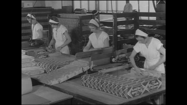 angled ws women workers wrapping boxes of crackers on table pushing down line when completed td ms female hands handwrapping raj soda crackers boxes... - cracker stock videos and b-roll footage