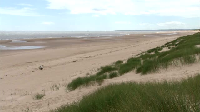 angled xws beach dunes covered in marram grass distant boats on north sea pan beach w/ small tide pools remaining no people protected sites of... - marram grass stock videos and b-roll footage