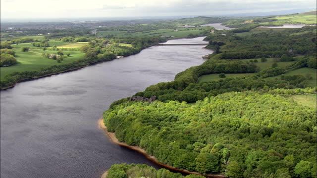 anglezarke reservoir  - aerial view - england, lancashire, chorley district, united kingdom - lancashire stock videos and b-roll footage