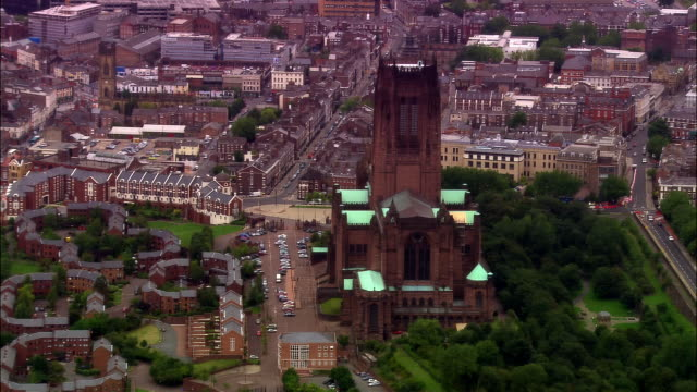 aerial anglican cathedral / liverpool, england - anglican stock videos and b-roll footage