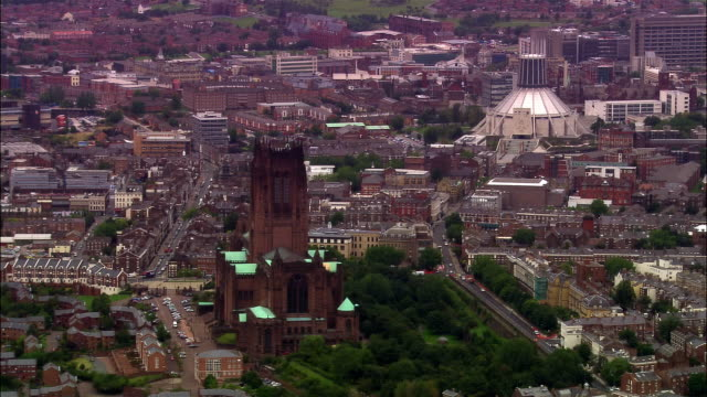 AERIAL Anglican Cathedral, Metropolitan Cathedral of Christ the King and cityscape / Liverpool, England