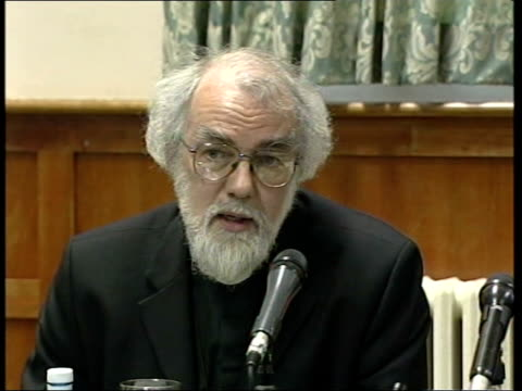 anglican church facing exile over liberal views on homosexuality; int rowan williams press conference sot - the north american countries have been... - anglican stock videos & royalty-free footage