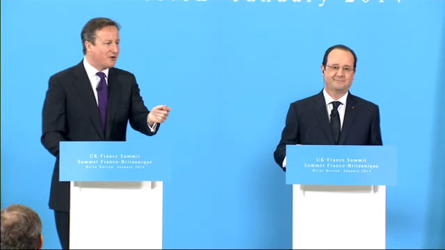 press conference question asked about french economic policy cameron answer sot praises hollande's policy on reducing spending / have to take... - grant shapps stock videos and b-roll footage