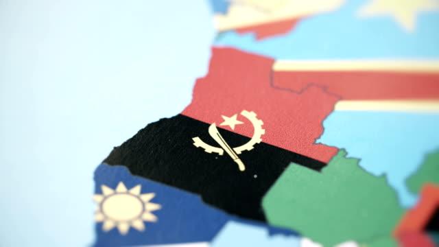 Angola Borders with National Flag on World Map