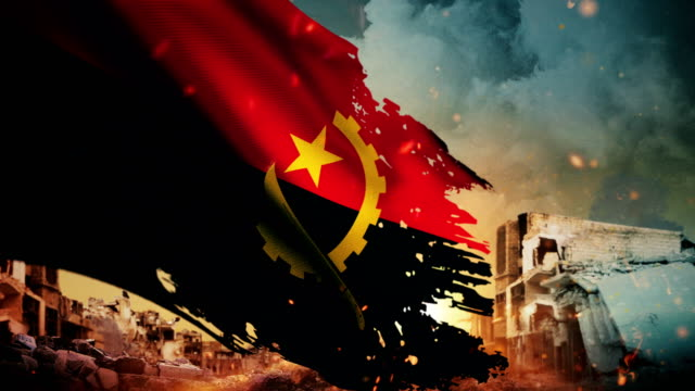 4k angola flag - crisis / war / fire (loop) - military exercise stock videos & royalty-free footage