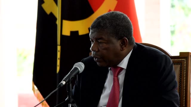 angolan president joao lourenco gives a press conference in which he answers questions on the state of the national economy at the moment when he was... - press conference stock videos & royalty-free footage