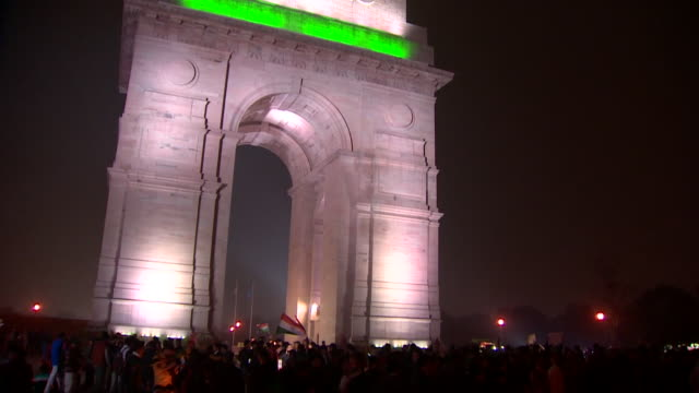 Angry demonstrators at India Gate in New Delhi after a deadly terror attack in Kashmir