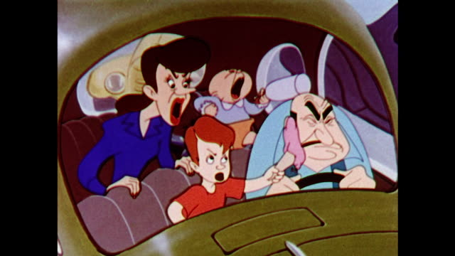 angry family stuck in a traffic jam - cartoon stock videos & royalty-free footage