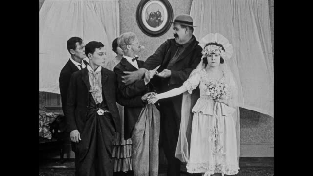 1920 angry father of the bride bends cheap wedding ring before dragging bride back home - father of the bride stock videos and b-roll footage